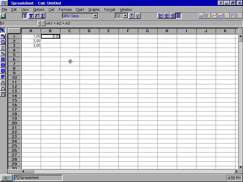 Breadbox Ensemble 4.13 bajo DOSBox corriendo la hoja de cálculo Spreadsheet