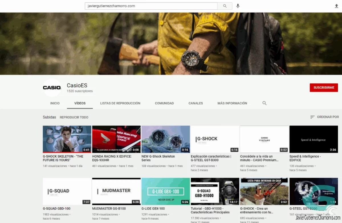 El canal oficial de G-Shock en Youtube
