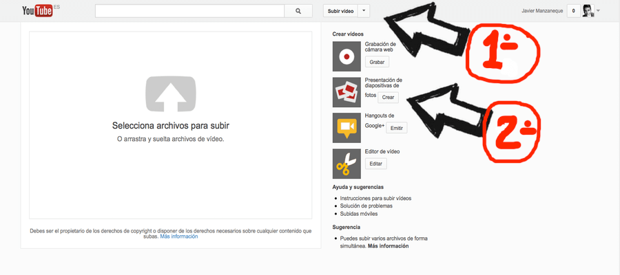 Como hacer videos con fotos en Youtube