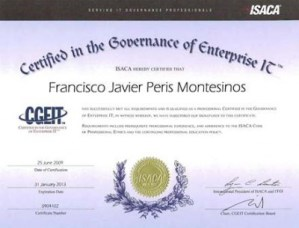 Javier Peris is Certified in the Governance of Enterprise IT by ISACA from 2009