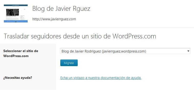 Migrar seguidores de un blog wordpress.com a un wordpress privado 2