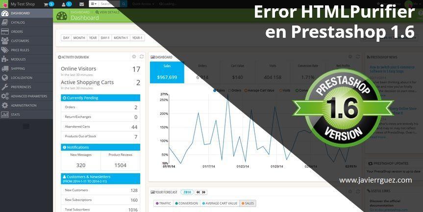 Prestashop Error HTMLPurifier