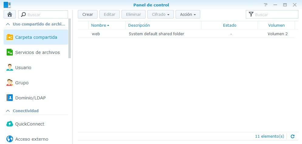 Synology Servidor Web 13 Carpeta compartida