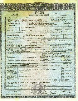 Haz click para ver en grande el certificado de defunción de Kurt Cobain