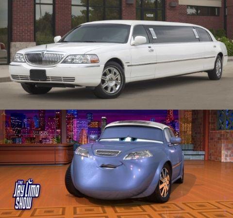 Jay Limo (Jay Leno) es en realidad una limusina Lincoln Town Car de 2003