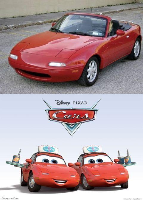 Mia y Tia son en realidad dos Mazda Miata (conocidos en Europa como MX5) de la primera generación (1989)