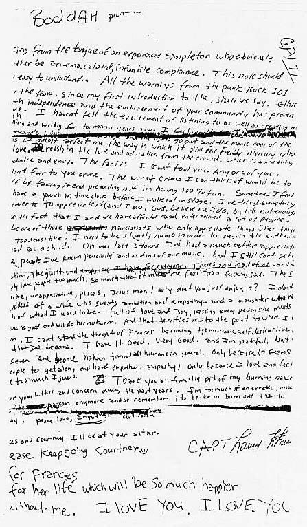 Carta dejada por Kurt Cobain antes de suicidarse