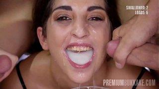 Premium Bukkake – Jimena Lago swallows 94 huge mouthful cumshots
