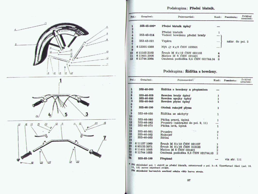 Katalog náhradních dílů Jawa-ČZ 350/354 Kývačka půlbuben 1954