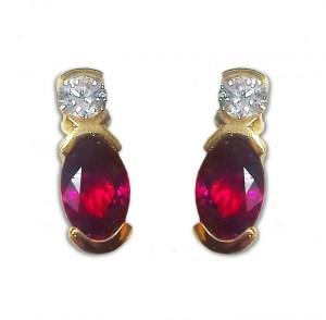 18CT YELLOW GOLD RUBY & DIAMOND EARRINGS
