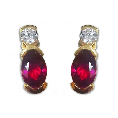 18ct Gold Ruby & Diamond Earrings