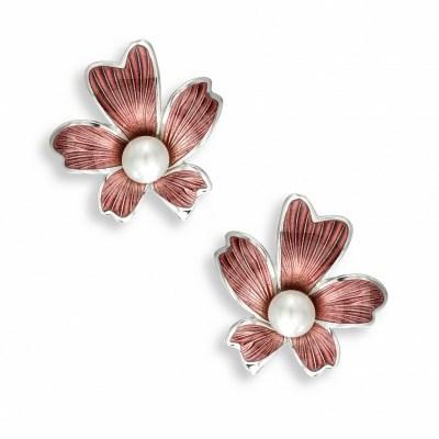 Nicole Barr Silver, Enamel & Pearl Earrings