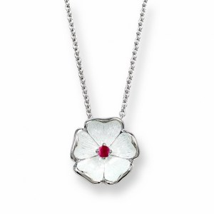 an image of a nicole barr silver, enamel & ruby necklace