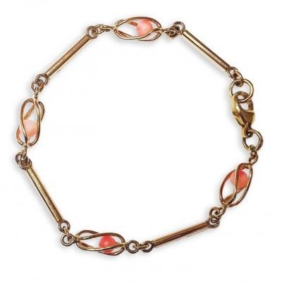Handmade 9ct Yellow Gold & Coral Bracelet