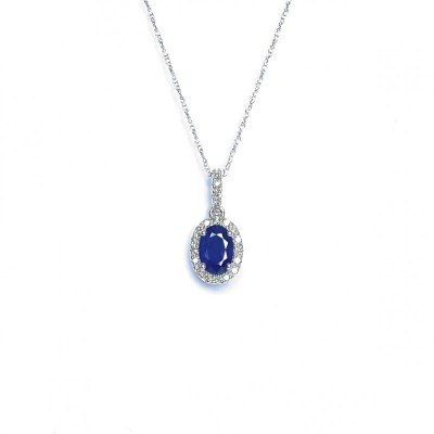 14ct White Gold Sapphire & Diamond Pendant