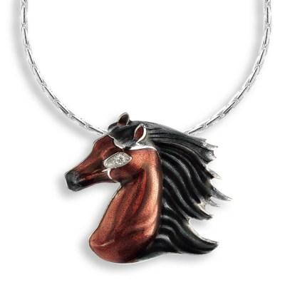 Sterling Silver Enamel & Diamond Necklace