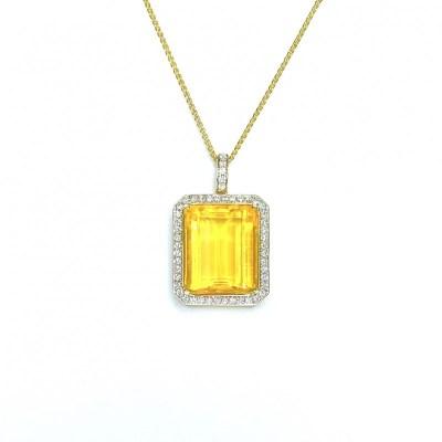 18ct Yellow Gold Citrine & Diamond Pendant