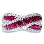 18ct White Gold Ruby & Diamond Dress
