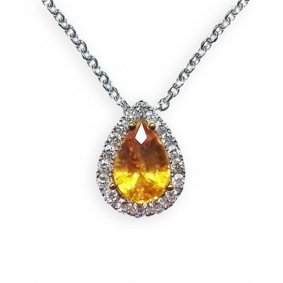 Yellow Sapphire & Diamond Teardrop Pendant in 18ct White Gold