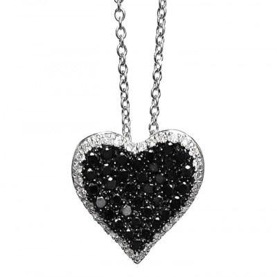 Black & White Diamond Heart Pendant in 18ct White Gold