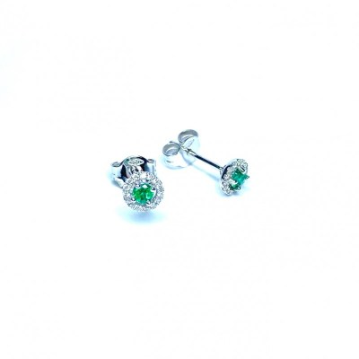 18ct White Gold Earrings Emerald & Diamonds