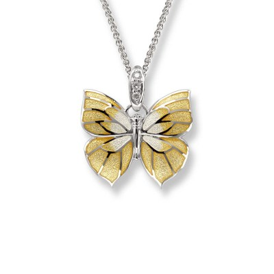 Nicole Barr Sterling Silver, Enamel and Diamond Butterfly Necklace