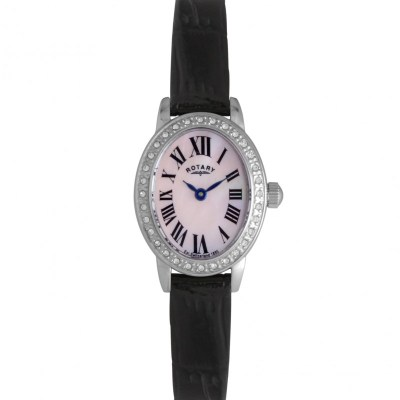 Ladies Rotary Black Leather Oval Watch