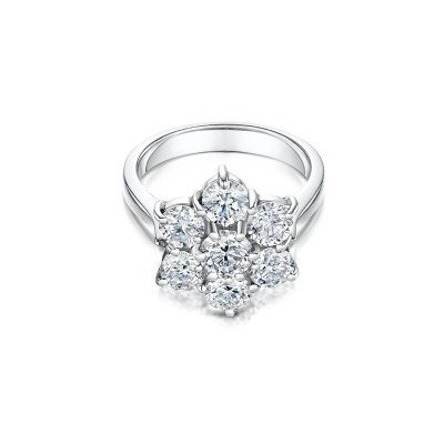 Platinum Diamond Daisy Cluster Ring