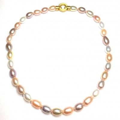 Fresh Water Cultured Pearl Necklace With Gold Plated Clasp