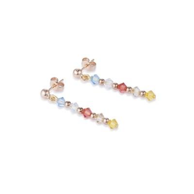 Coeur De Lion Swarovski® Crystals & Stainless Steel Rose Gold Earrings – Multicolour Pastel