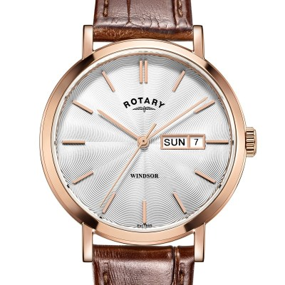 Rotary Mens Rose Gold Windsor Watch W/Brown Strap