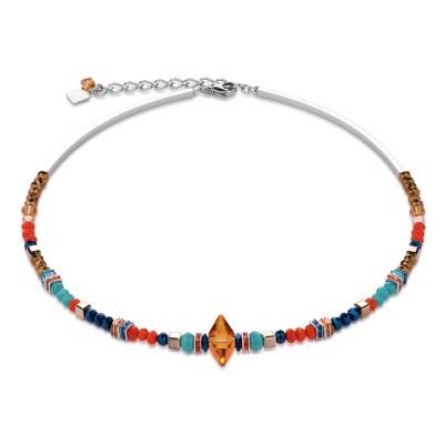 Coeur De Lion Swarovski® Crystals & Cut Glass Orange-Turquoise Necklace