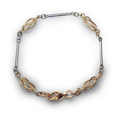 Handmade 9ct Yellow & White Gold Bracelet