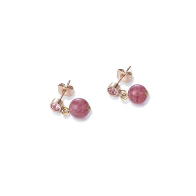 Coeur De Lion Gemstone Ball Strawberry Quartz Earrings