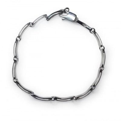 Rectangular Hoop Chain Bracelet in 9ct White Gold