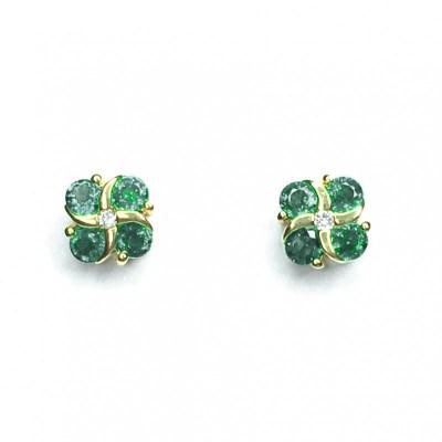 18ct Yellow Gold Emerald & Diamond Earrings