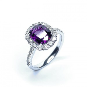 18Ct White Gold Purple Sapphire & Diamond Ring