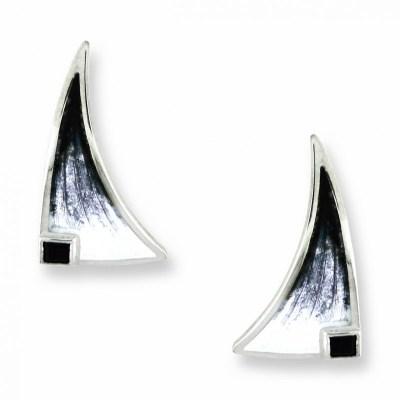 Nicole Barr Silver, Enamel & Onyx Earrings