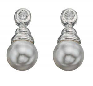 An image of SYNTHETIC PEARL & CUBIC ZIRCONIA DROP EARRINGS