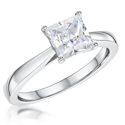 Silver  Princess Cut Cubic Zirconia Ring With Platinum Finish