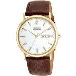 Gents Eco-Drive Brown Strap & White Dial