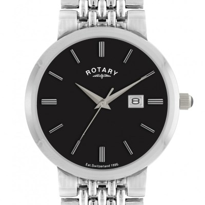 Gents Rotary Date Brick Link Bracelet Watch