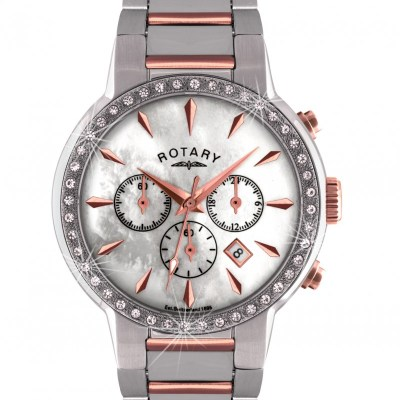 Rotary Timepieces Ladies Quartz Watch With White Dial Chronograph Display And Silver Stainless Steel Bracelet