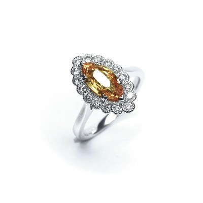 Platinum Yellow Sapphire & Diamond Ring
