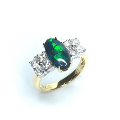 18ct Yellow Gold Black Opal & Diamond Ring
