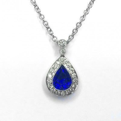 Tanzanite & Diamond Pendant in 18ct White Gold