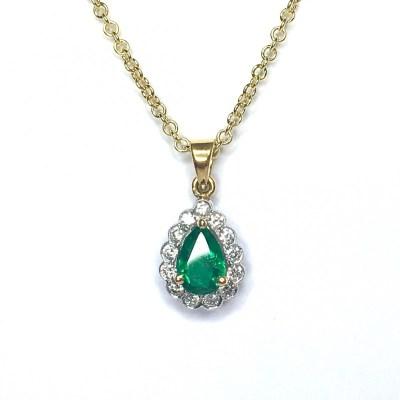 Emerald & Diamond Pendant in 18ct White Gold