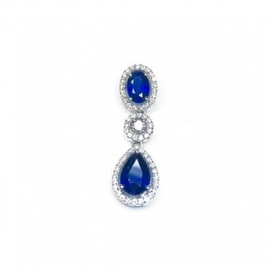 Sapphire & Diamond Pendant in 18ct White Gold