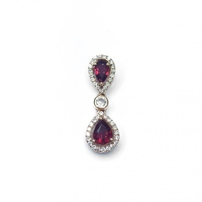 Ruby & Diamond Pendant in 18ct Rose Gold