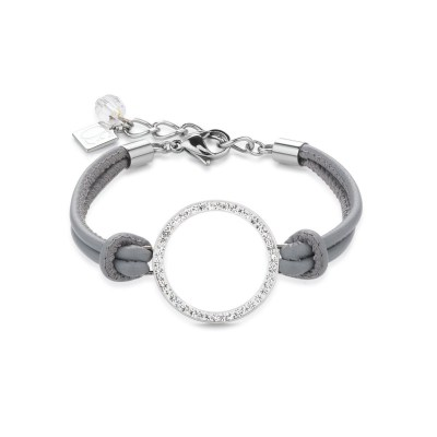 Coeur De Lion Pavé Crystal Circle Nappa Leather Bracelet